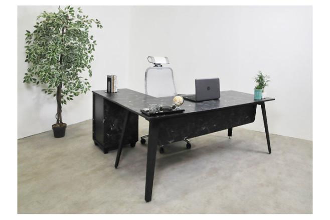 שולחן משרדי עם שלוחה  רוחב 180 ס``מ LEMAS   צבע שיש שחור