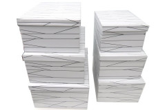 סט 6 קופסאות מלבן לאיחסון  קווים גרפים