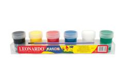 סט 6 צבעי גואש לאונרדו 25 גרם