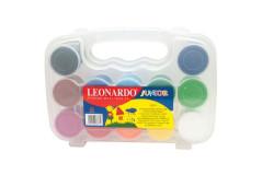 סט 12 צבעי גואש במזוודה לאונרדו