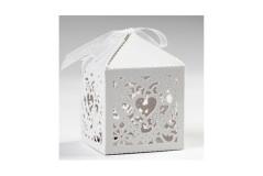 סט 12 קופסאות דקורטיביות בצורת לב-לבן