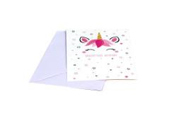 כרטיס ברכה+ מעטפה שפע ברכות חד קרן ורוד