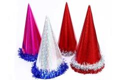 12 יח כובע ליצן צבעוני עם הולגרמה