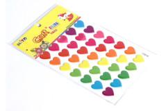 מדבקות סיליקון לבבות תלת מימד ,15X15 מ``מ צבעוני