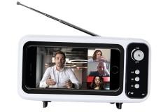 רמקול בלוטות` בעיצוב טלויזיה רטרו כולל רדיו ומעמד לנייד