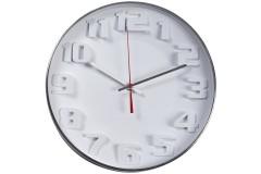 שעון קיר לבן עם ספרות תלת מימד