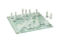 סט שחמט מזכוכית אלגנטי