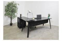 שולחן משרדי עם שלוחה  רוחב 160 ס``מ LEMAS   צבע שיש שחור
