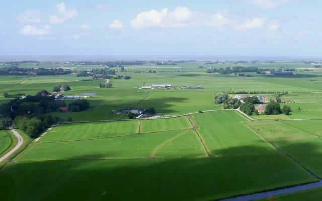 Carrozza vicino alla fattoria biologica nella campagna della Frisia...