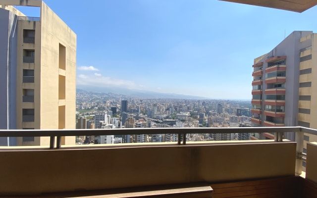 Central, upper-end & comfortable apartment with a stunning city view.