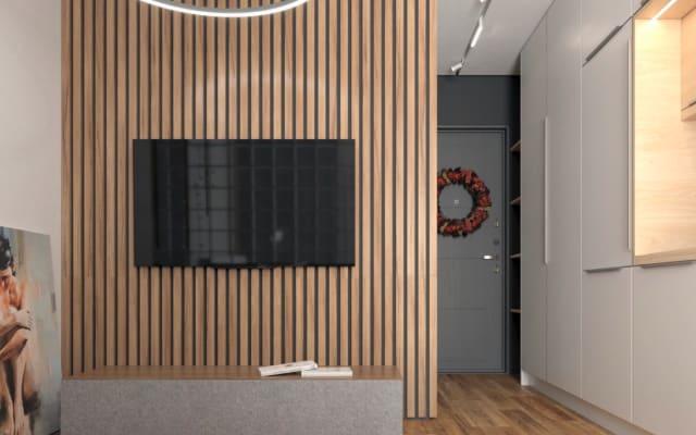 Appartement en bois confortable avec un design unique
