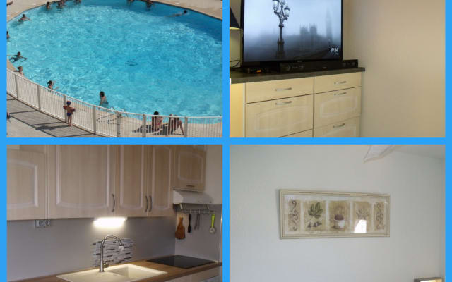 Location 40m², chambre, cusine, salon, bureau, Piscine, Mer 300m, Park