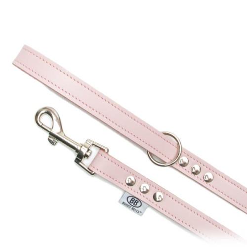 Buddy Belts Premium Leather Leash (Pink)