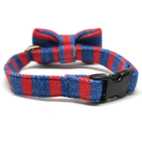 Pinstripe collar with bowtie for cats and small dogs
