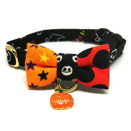 Halloween Night collar with bowtie for cats and small dogs