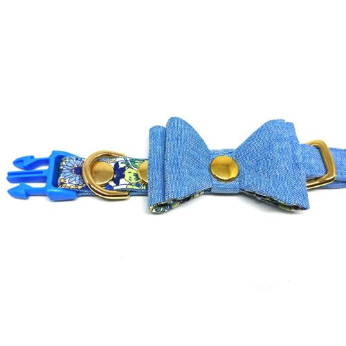 Floral Jeans – Collar for Medium Dogs (Blue)