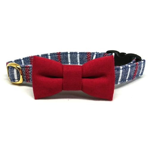 Stylish in Red collar with bowtie for cats and small dogs