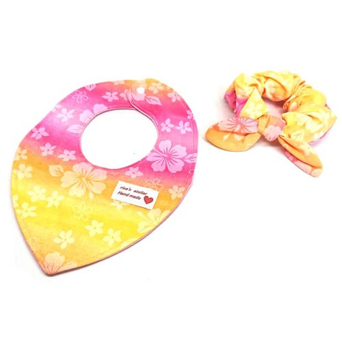Pink Hawaii- Bandana and hair tie