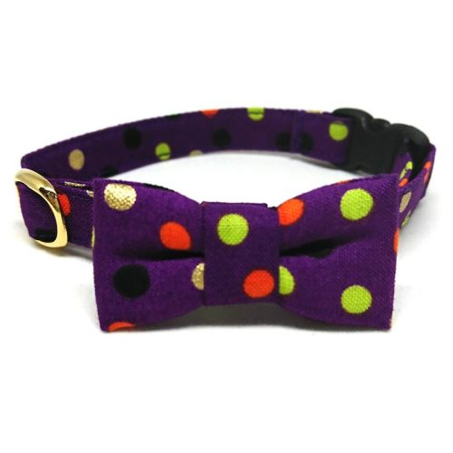 Sassy Dots collar with bowtie for cats and small dogs
