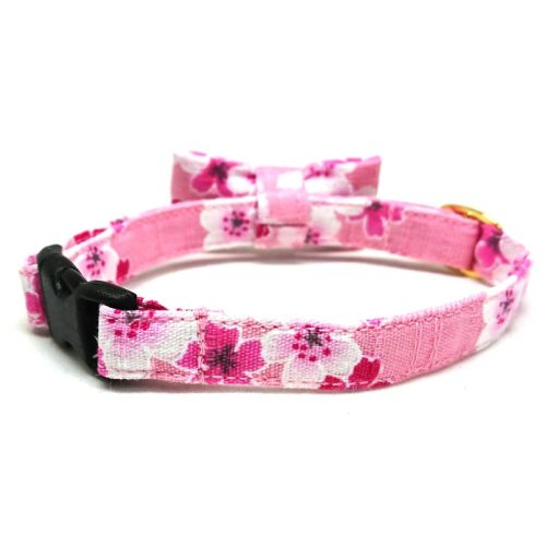 Sakura Blush collar with bowtie for cats and small dogs