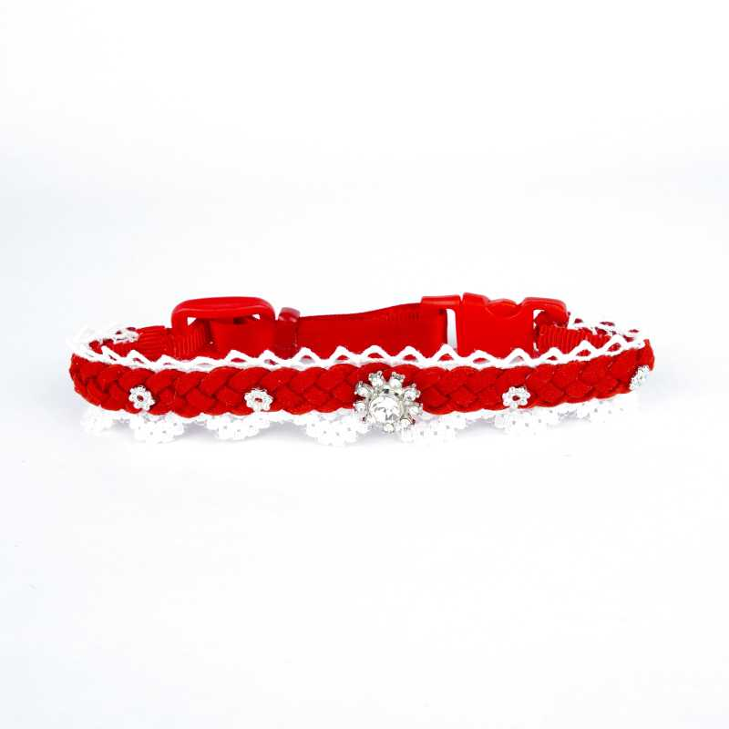 Lady in Red – Suede and Lace Cat Collar