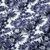 Capri Camp Shirt - Navy Aqua FloralPrint, fabric swatch closeup