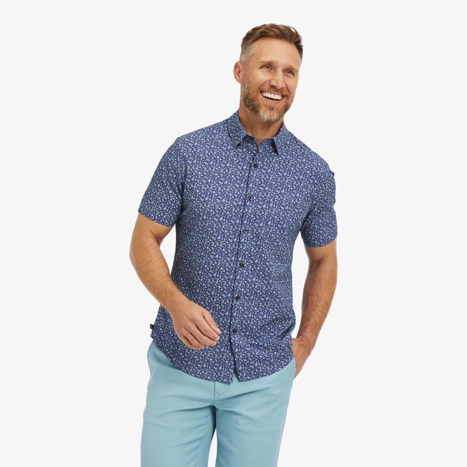 Leeward Short Sleeve - Navy Aqua FloralPrint - Mizzen+Main | Mizzen + Main