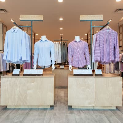 The main entrance display, featuring mannequins displaying our shirts.