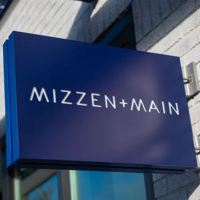 The Mizzen+Main storefront sign.