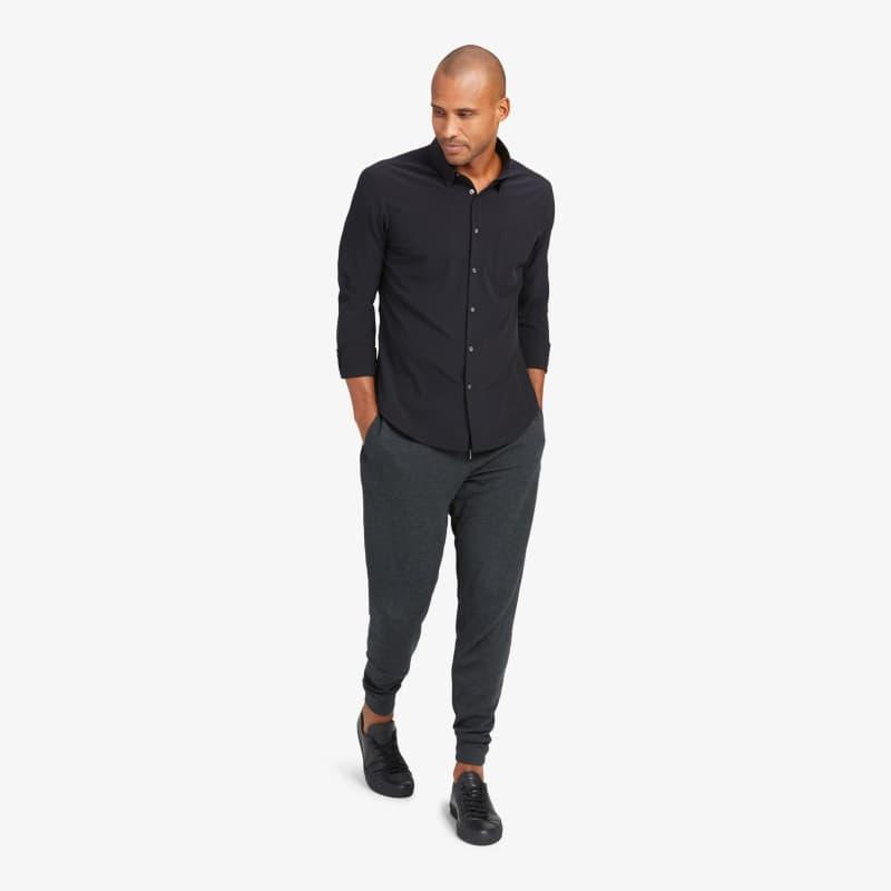 Leeward No Tuck Dress Shirt - Black Solid, lifestyle/model