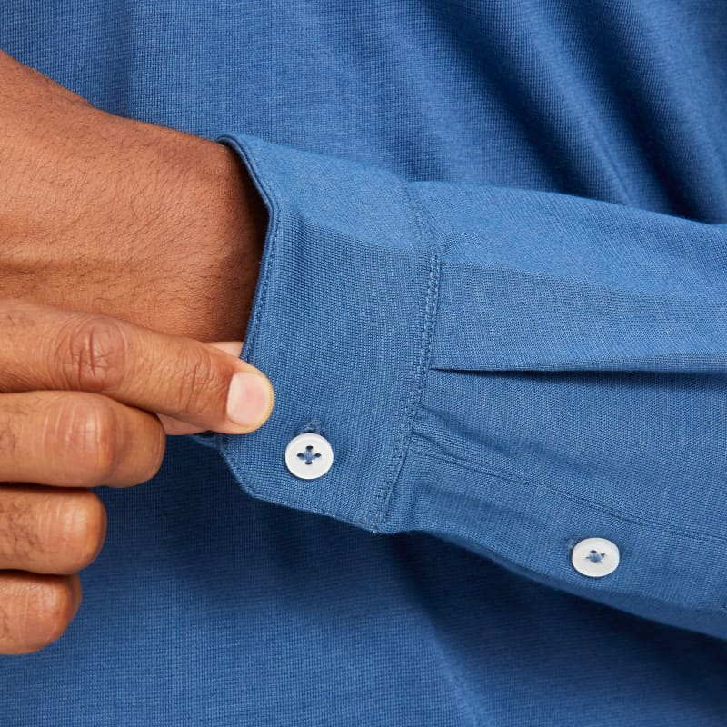 Wilson Long Sleeve Polo - Blue Solid, lifestyle/model