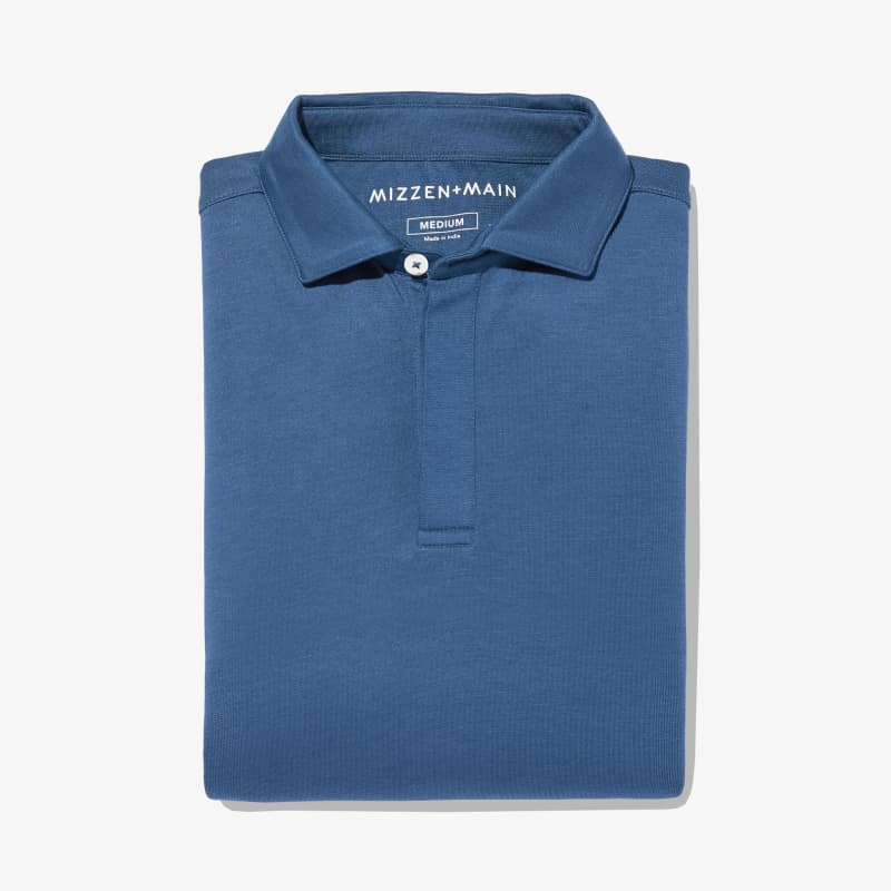 Wilson Long Sleeve Polo - Blue Solid, featured product shot
