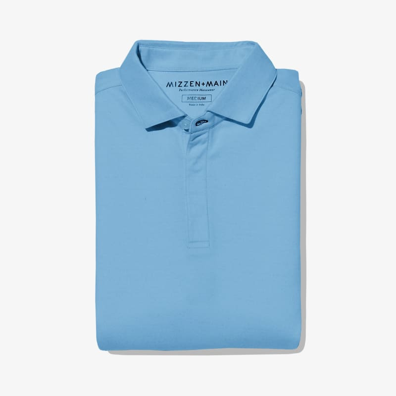 Wilson Long Sleeve Polo - Light Blue Solid, featured product shot