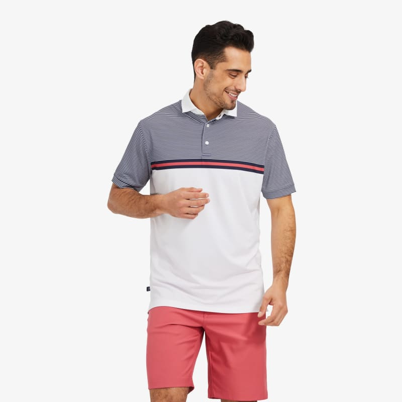 Clubhouse Polo - Navy Red Stripe, lifestyle/model