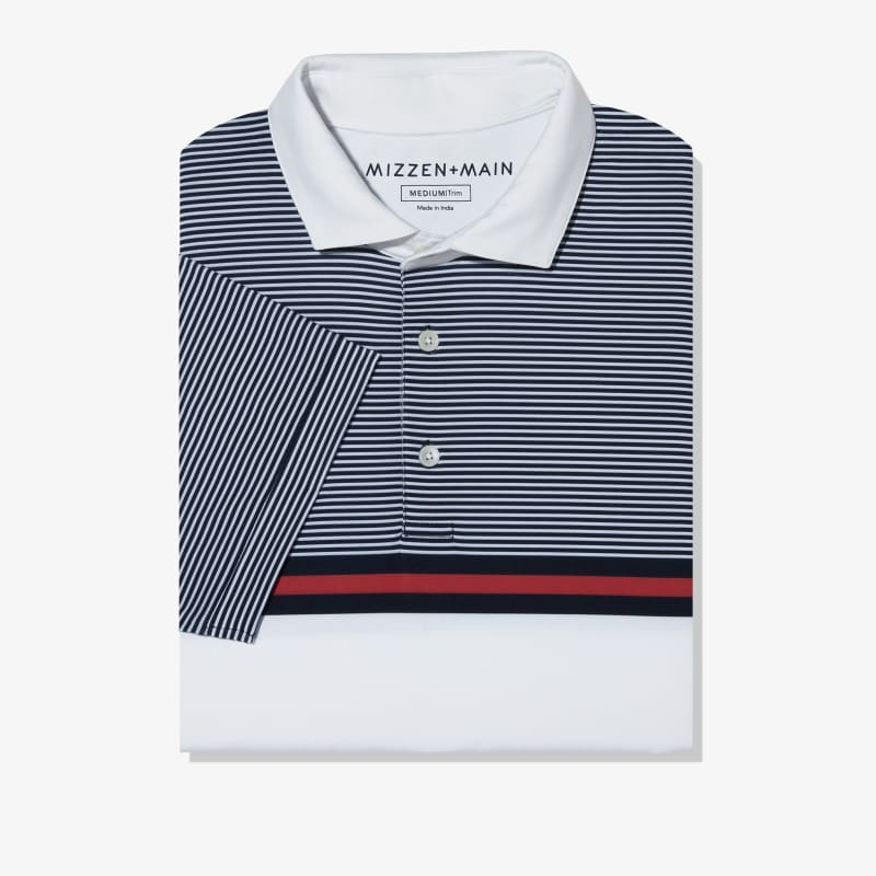 Clubhouse Polo - Navy Red Stripe, featured product shot