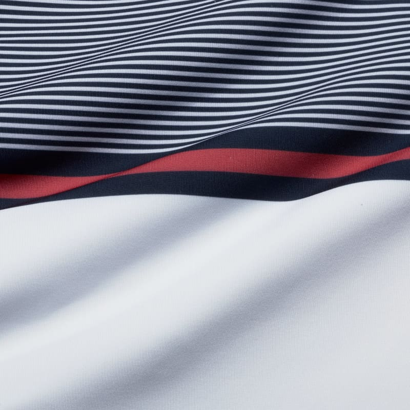 Clubhouse Polo - Navy Red Stripe, fabric swatch closeup
