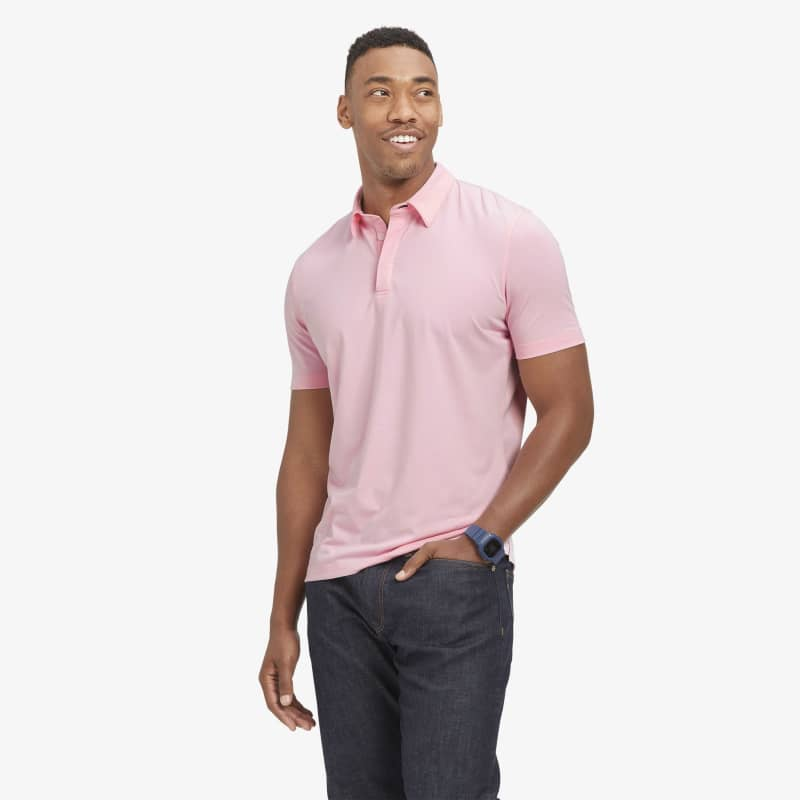 <em class=drirelease-title>drirelease</em><sup class=molecular>®</sup> Polo - Pink Heather, lifestyle/model