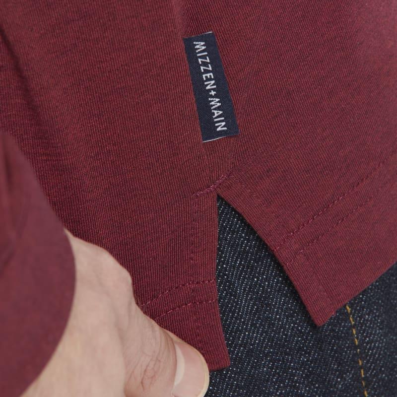 <em class=drirelease-title>drirelease</em><sup class=molecular>®</sup> Long Sleeve Polo - Burgundy Heather, lifestyle/model