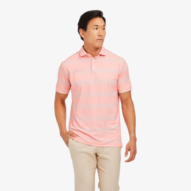 Clubhouse Polo - Coral And Light Blue DoubleStripe, lifestyle/model