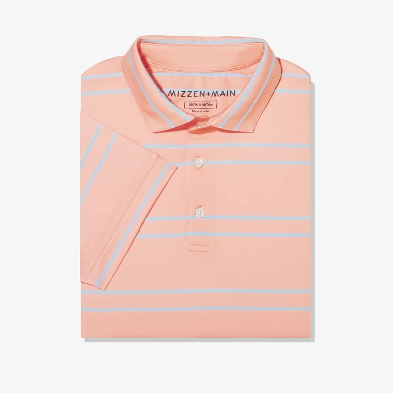 Clubhouse Polo - Coral And Light Blue DoubleStripe, featured product shot