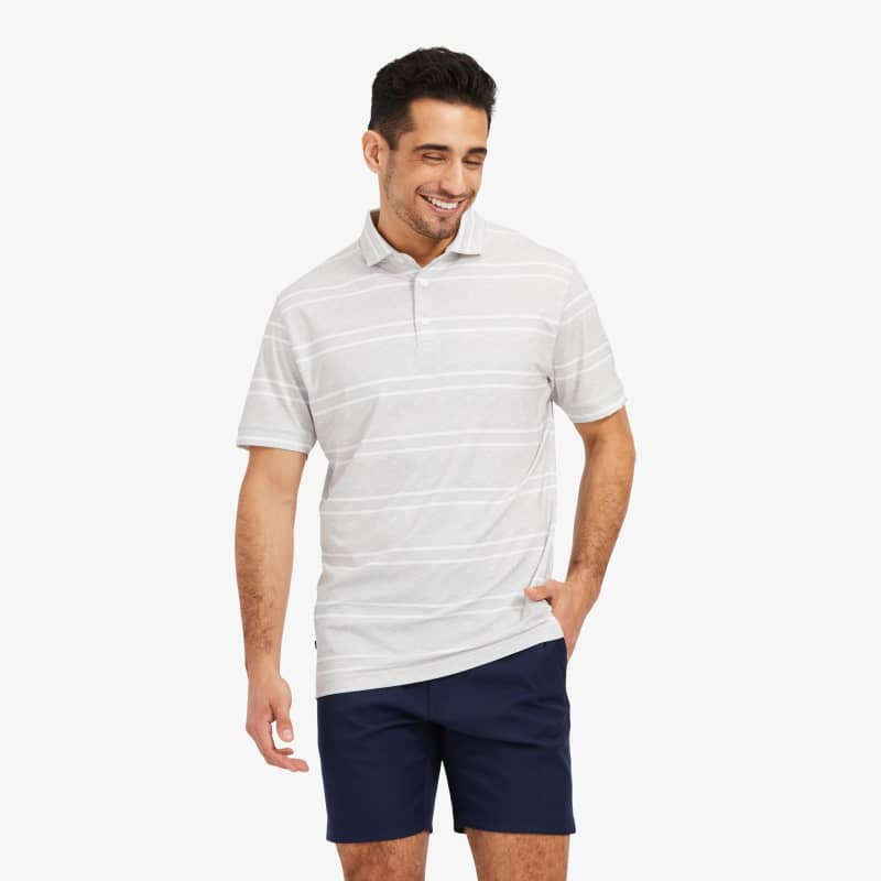 Clubhouse Polo - Gray Double Stripe, lifestyle/model