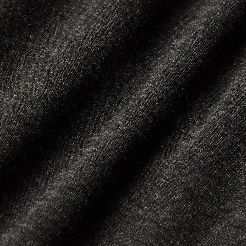 Fairway Hooded Henley - Charcoal Heather, fabric swatch closeup