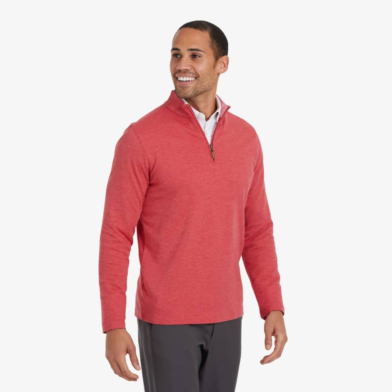 Fairway Pullover - Berry Red Heather, lifestyle/model