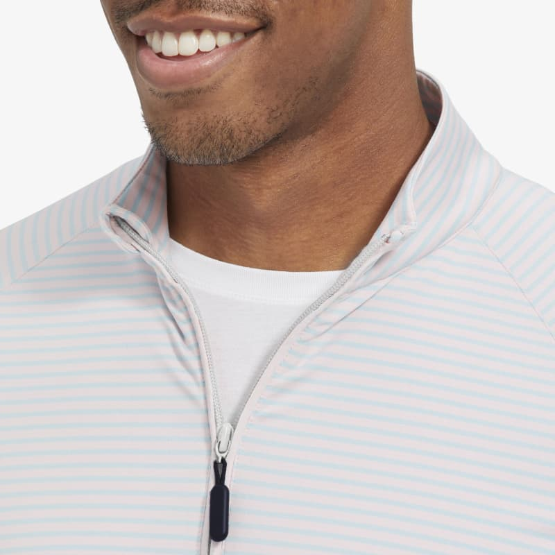 Clubhouse Pullover - Pink And Sea GreenStripe, lifestyle/model