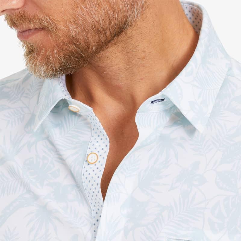 Leeward Vacation Shirt - Skyway Tropical Print, lifestyle/model