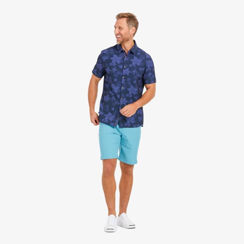 Leeward Vacation Shirt - Blue Large FloralPrint, lifestyle/model