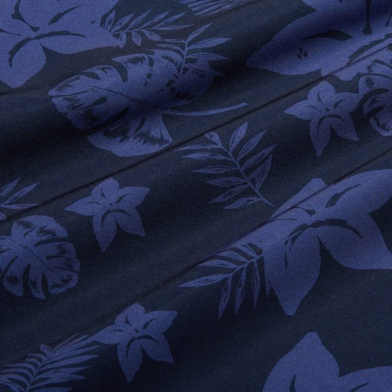 Leeward Vacation Shirt - Blue Large FloralPrint, fabric swatch closeup