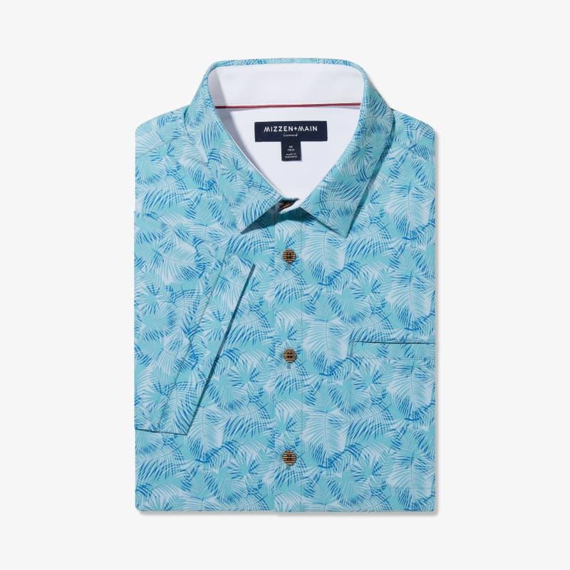 Leeward Vacation Shirt - Blue And Green PalmPrint, featured product shot