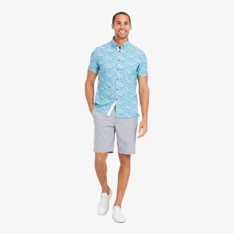 Leeward Vacation Shirt - Blue And Green PalmPrint, lifestyle/model