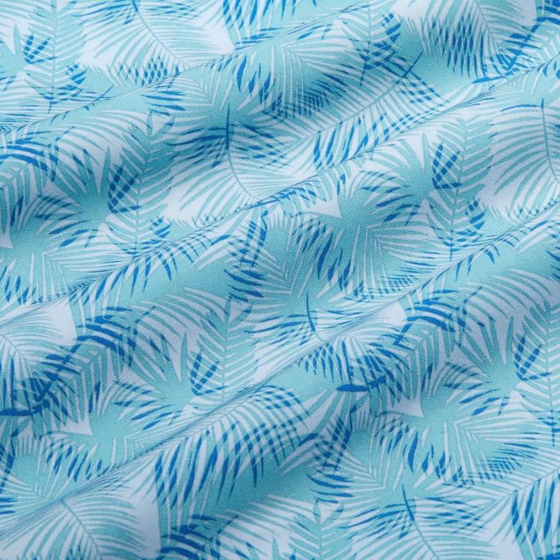 Leeward Vacation Shirt - Blue And Green PalmPrint, fabric swatch closeup